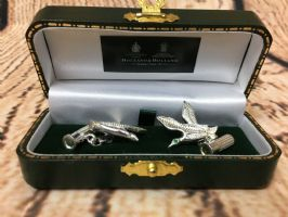 Holland and Holland silver flying game bird cufflinks